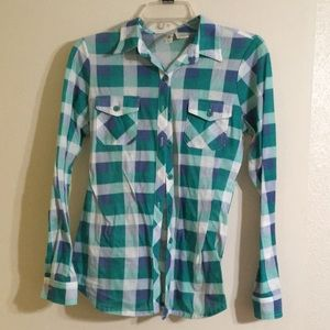 Blue and Green Button-Up Flannel